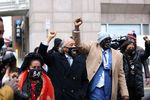 Reverend Al Sharpton, center, and Philonise Floyd, George Floyd's brother, second right, arrive at the Hennepin County Government Center in Minneapolis, Minnesota, onApril 19.