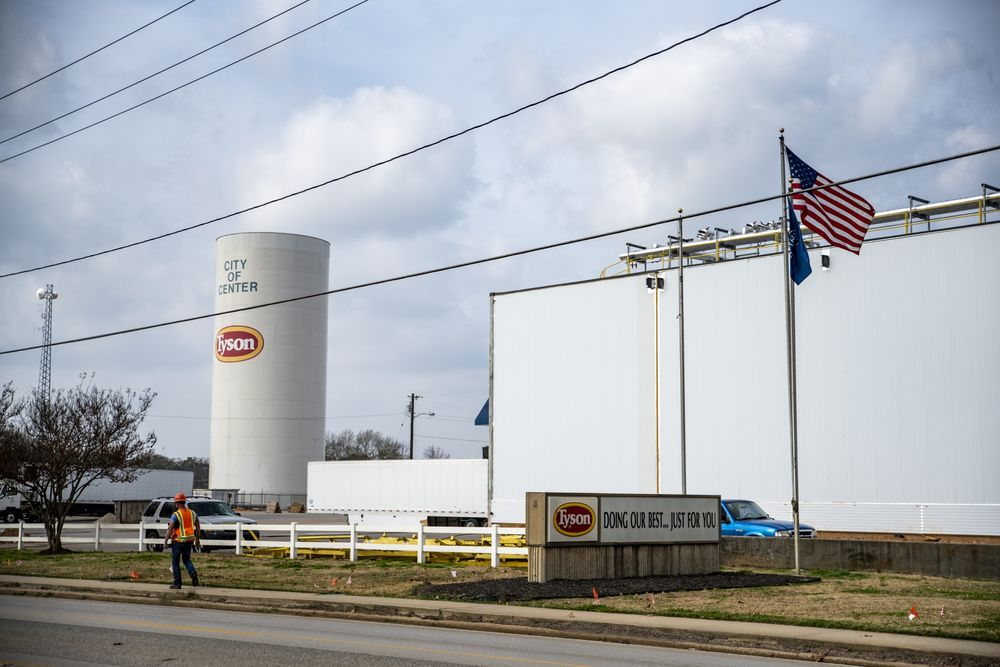 Tyson Foods Inc. processing plant in Center, Texas, U.S.