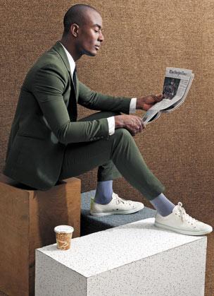 Paul Smith White Lokai Trainers, $210 (paulsmith.co.uk) - Richard Chai blazer, $423, and pants, $294; Siki Im shirt, $245; H&M silk tie, $24.95; Styling by Shibon Kennedy