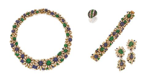 Van Cleef & Arpels Suite of Gold, Sapphire, Emerald and Diamond Jewelry