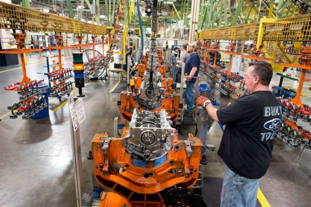 Employees work on the assembly line installing parts at the Ford Motor Engine Plant in Lima, Ohio on March 28 Photograph by Ty Wright/Bloomberg