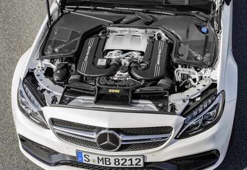 "The AMG C63's turbocharged V8 with the ""hot inside V."""