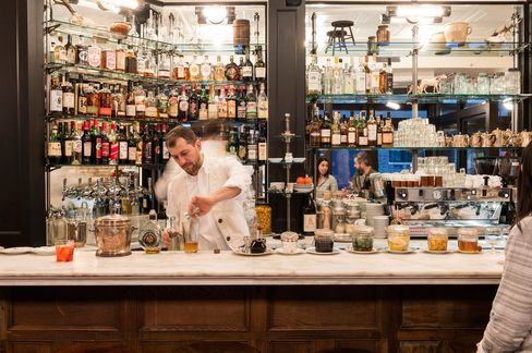 The bar at Via Carota in the West Village.