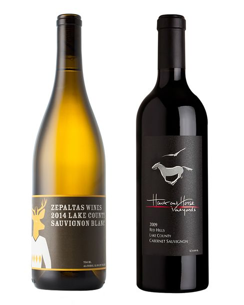 From left: Zepaltas Sauvignon Blanc; Hawk and Horse Cabernet