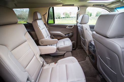 The center row of chairs in the Denali are heated pilot's seats with perforated leather covering.