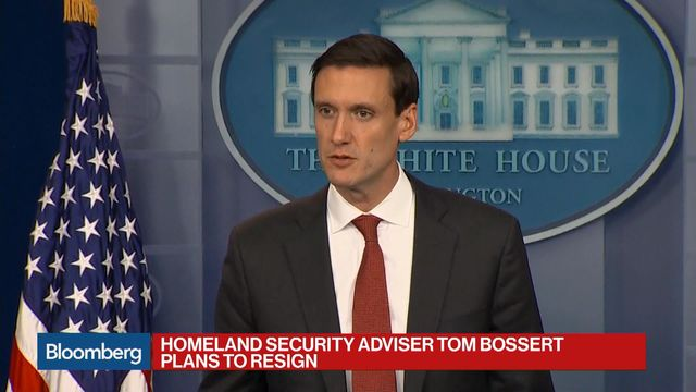 Homeland Security Adviser Tom Bossert Leaving White House