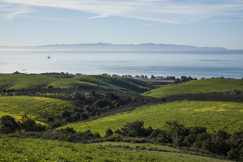 Views over the Pacific from South Naples ranch, with the Channel Islands National Park in the distance.