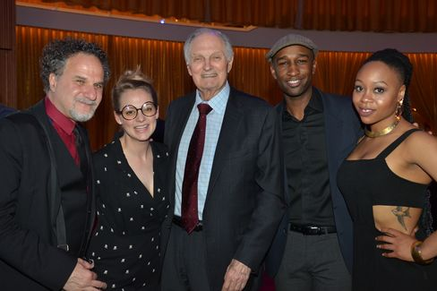Alan Alda, center, with World Science Festival gala performers