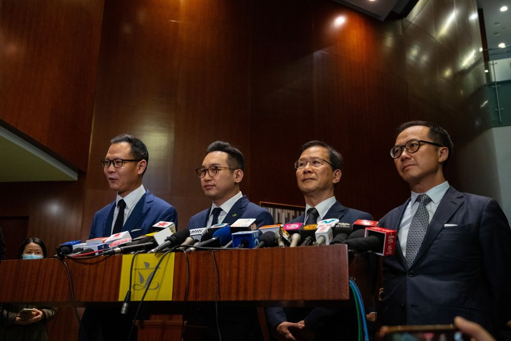 Dennis Kwok, from left,  Alvin Yeung, Kwok Ka-ki and Kenneth Leung at the Legislative Council in Hong Kong on Wednesday.