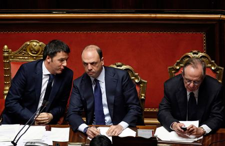 Renzi with Angelino Alfano, and Pier Carlo Padoan during a parliamentary session in Rome, Italy, on Feb. 24, 2014.