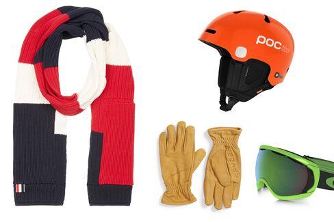 From left: Multi color stripe knit scarf, Thom Browne, $595, ssense.com; Auric helmet, POC, $130, pocsports.com; Jaxson leather ski gloves, Spyder, $65, nordstrom.com; Canopy Prizm '80s green edition ski goggles, Oakley, $180, oakley.com.