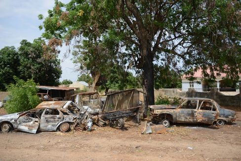 Burned out cars are seen after retreating Boko Haram set them alight in the city of Yola in Adamawa province, Nigeria.