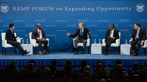 Republican presidential candidates Jeb Bush, center, Ben Carson and New Jersey Governor Chris Christie, right, participate in an economic forum as House Speaker Paul Ryan, left, and Senator Tim Scott, moderate the event.