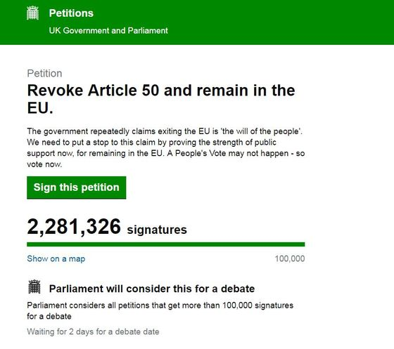 Stop Brexit Petition Passes Two Million Names as Delay Looms