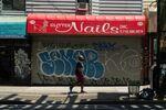 A closed nail salon in the Williamsburg neighborhood in the Brooklyn borough of New York.