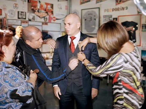 Pitbull gets mic'd up for a July 7 interview on Univision