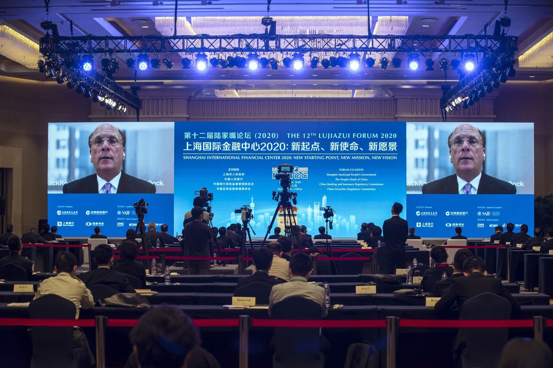 Larry Fink speaks via video link at the Lujiazui Forum in Shanghai on June 18.
