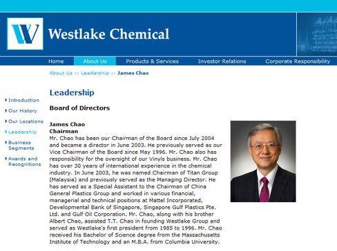 Westlake Chemical Chairman James Chao