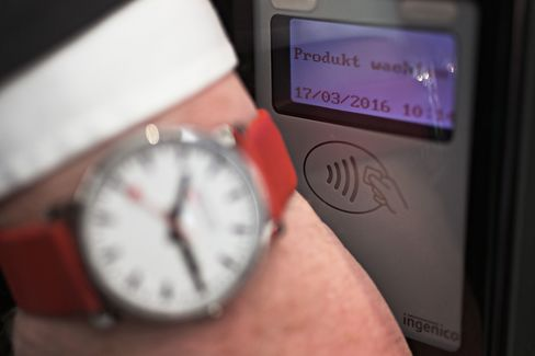 The PayChip removable contactless payment chip is demonstrated at Baselworld on March 17