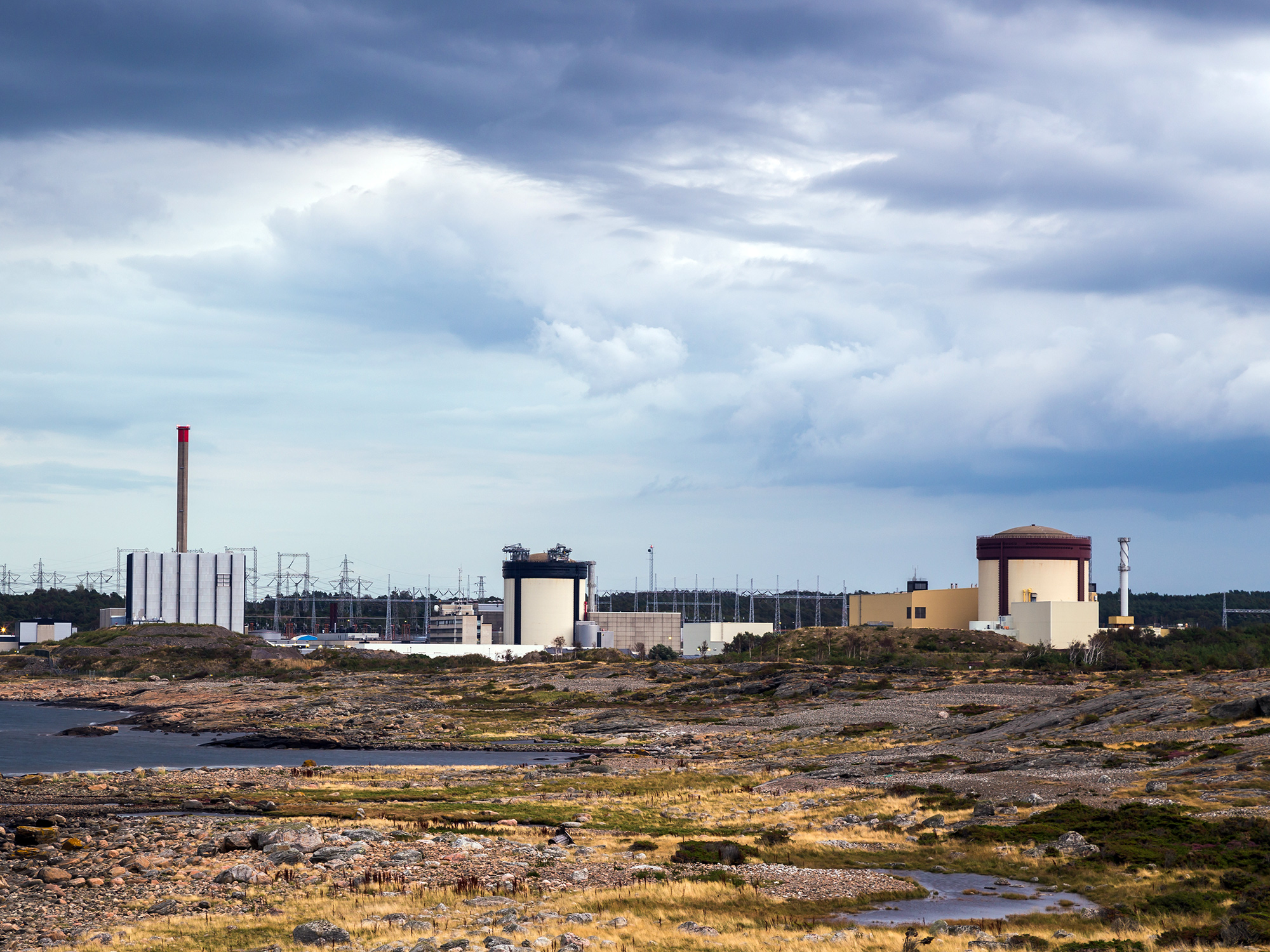 Ringhals Nuclear Power Plant Under Dramatic Sky