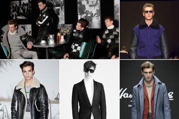 Here are some great looks from London, including a gaggle of guys in motorcycle-inspired gear, a colorful bomber jacket from Burberry, a sporty shearling coat from Coach, a sneaky tux from Tom Ford, and a beautiful ice blue overcoat from Hardy Amies.