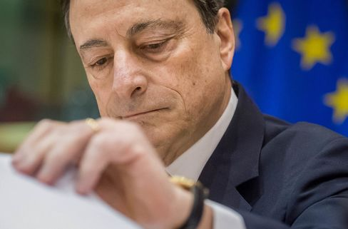 Mario Draghi of European Central Bank (ECB) at European Parliament committee on Monetary Affairs