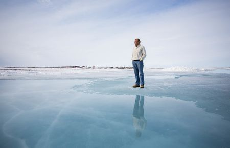 Patrick Evans, CEO of Mountain Province Diamonds, looks out over the ice at Kennady's Kelvin Camp.