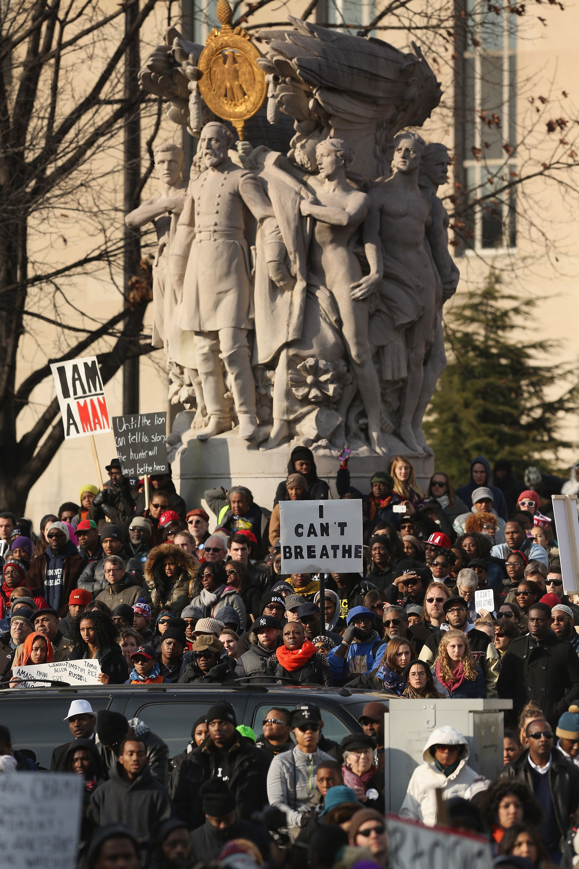 Thousands of people gather in the nation's capital for the 'Justice For All' rally and march against police brutality and the killing of unarmed black men by police, December 13, 2014 in Washington, DC.