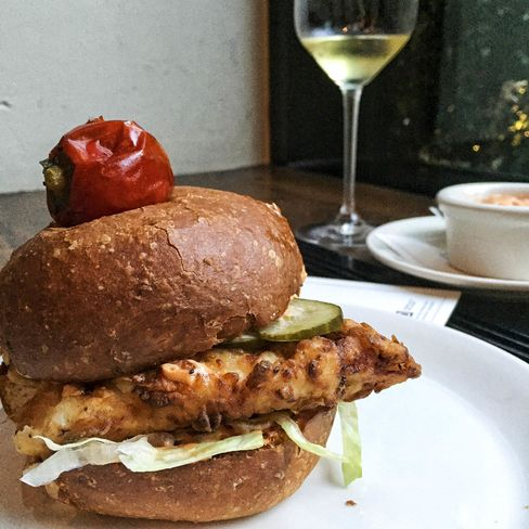 Fra Diavolo Fried Chicken Sandwiches are available only at Maialino's bar during happy hour.