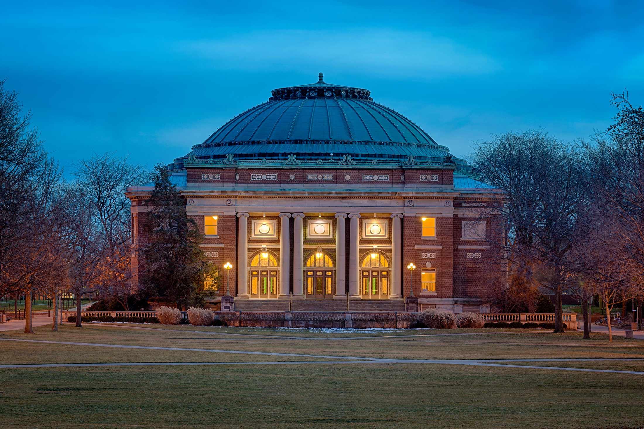 Foellinger Auditorium on the Main Quad at the University of Illinois in Urbana, Ill.