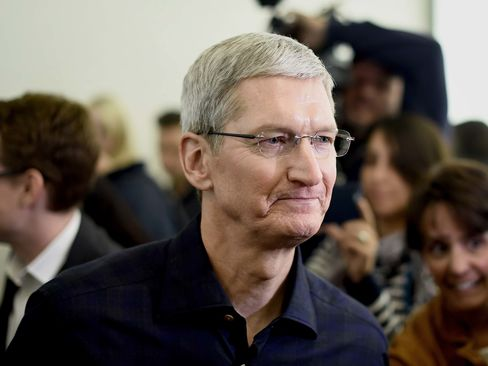 Tim Cook, CEO of Apple Inc., after a product announcement in Cupertino, California, on Oct. 16, 2014.