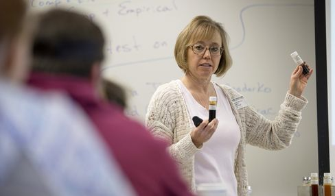 Anadarko Petroleum's Rebecca Johnson speaks to students at Windsor High School in Windsor, Colorado.