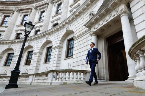 George Osborne departs the H.M. Treasury building