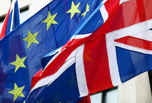 European Union Flags And Union Flags Flying Together As Brexit Vote Date May Be Decided This Week
