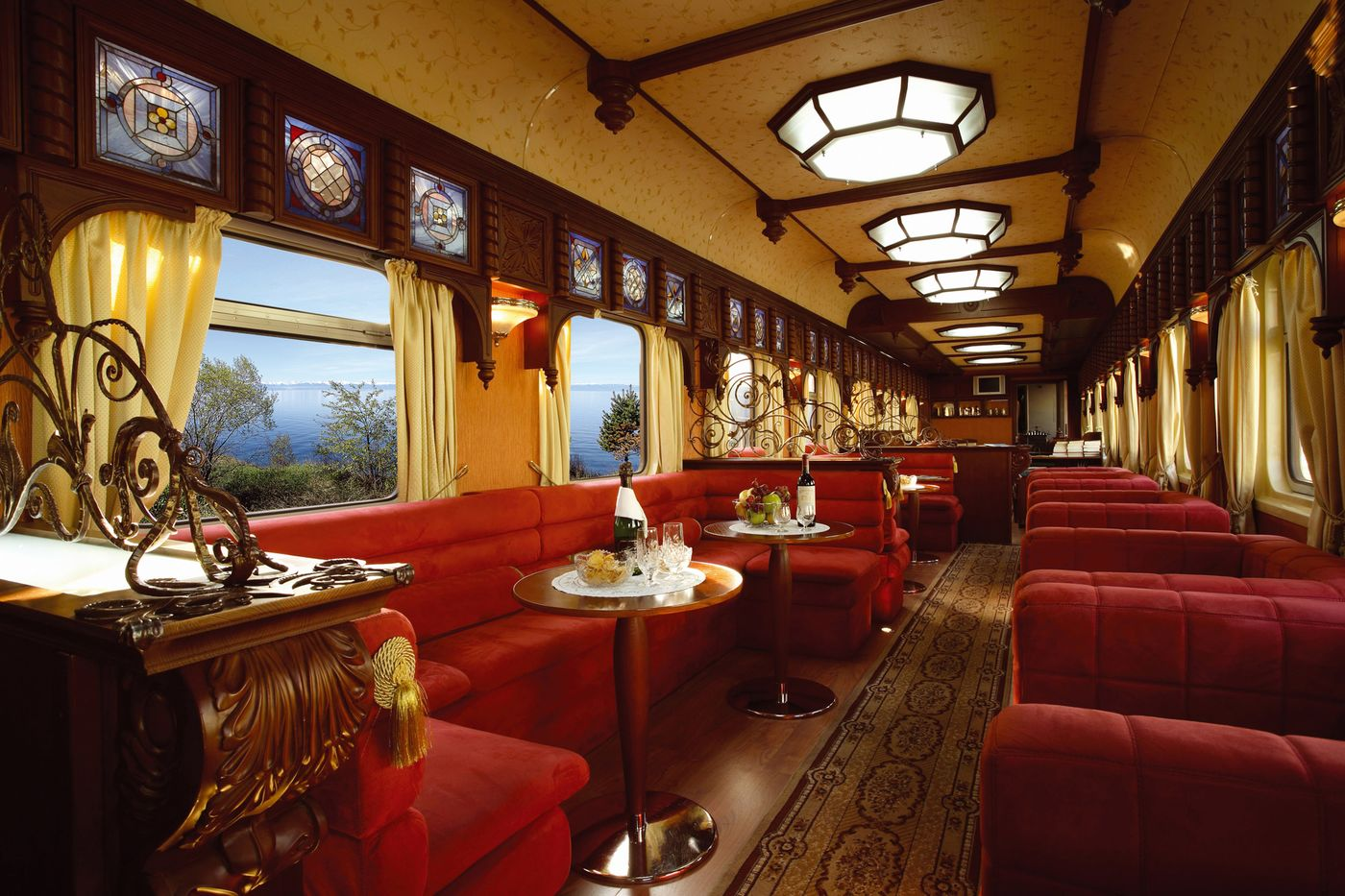 The Golden Eagle Trans-Siberian Express. The Rail Car Restaurant.