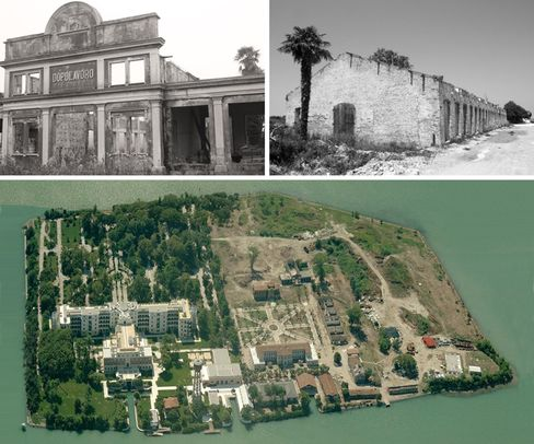 Isole delle Rosa, an Venetian lagoon island where Mussolini built an elaborate hospital for treating pulmonary diseases, is now a JW Marriott.