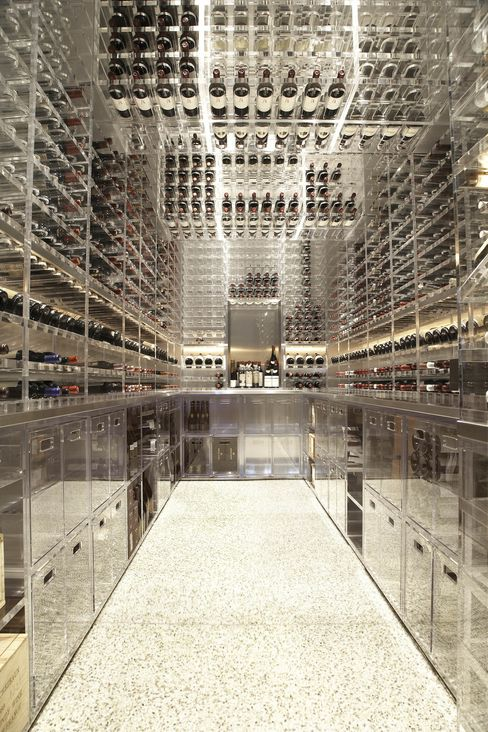 This cellar, created by Sonoma county-based ArchitecturalPlastics Inc. for a a collector with a house in San Francisco's Pacific Heights, holds 2,800 bottles. The doors, walls, and counters are stainless steel; the racks, cabinets, and drawers are crafted from 9,000 pounds of 1-inch thick, high-quality acrylic.