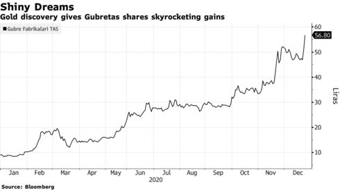 Gold discovery gives Gubretas shares skyrocketing gains