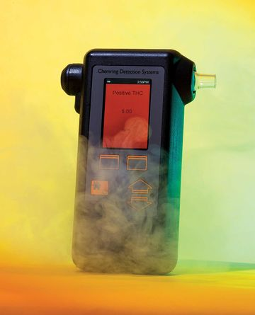 The prototype of Chemring's pot breathalyzer looks a little like an old-school Game Boy.