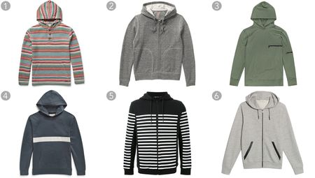 (1) Striped brushed-cotton hoodie, Faherty, $245, mrporter.com; (2) Light gray hoodie, Joe Fresh, $49, joefresh.com; (3) Hooded clash, John Elliott + Co., $228, johnelliott.co; (4) Printed cotton-jersey hoodie, Mollusk, $75, mrporter.com; (5) Striped hoodie, T by Alexander Wang, $405.45, farfetch.com; (6) Hoodie cardigan, Sandro, $325, sandro-paris.com.
