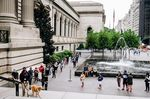 Visitors wearing protective masks wait in line during the public reopening at the Metropolitan Museum of Art in New York, U.S., on Saturday, Aug. 29.