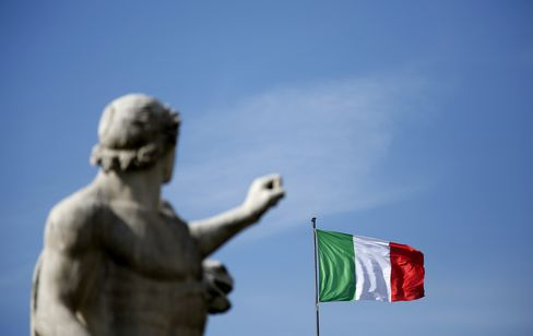 The National Flag of Italy Flies in Rome