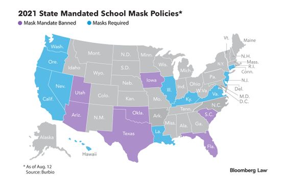 School Mask Rule Clash Puts Heat on Courts to Steer Policy