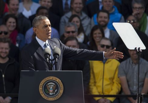 President Barack Obama speaks at Nike headquarters in Beaverton, Ore., on May 8, 2015.