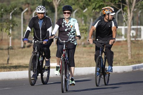 Rousseff cycling in Brasilia