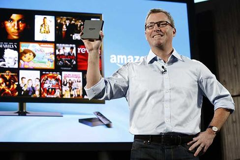 Peter Larsen, vice president of Amazon, introduces Fire TV during a news conference in New York on April 2