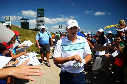 Jordan Spieth during practice ahead of the 2015 PGA Championship at Whistling Straits on August 12, 2015.