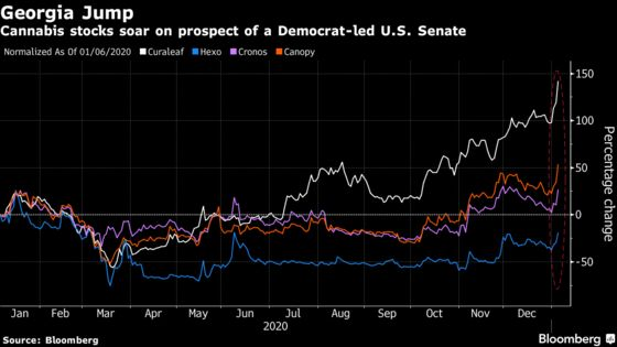 Big Banks, Pot Stocks, Renewables Rise as Democrats Advance