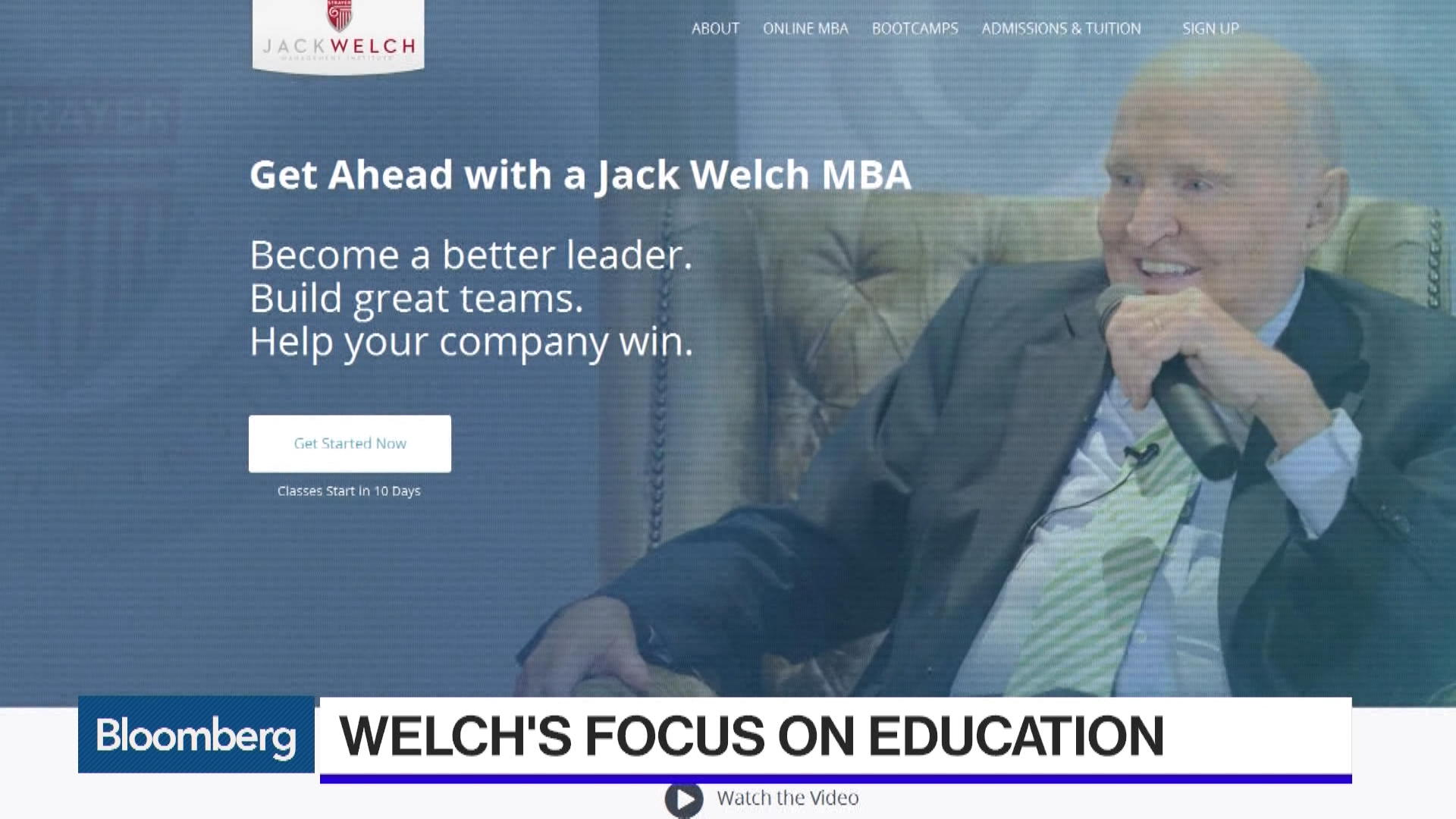 Jack Welchs Goal Is To Make You Better In Business Bloomberg