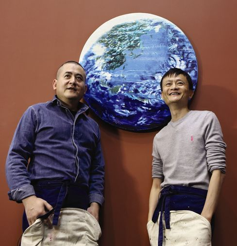 Zeng Fanzhi and Jack Ma in front of Paradise.